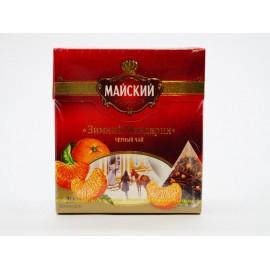 Чай чёрный Майский Зимний Мандарин 20 пирамидок
