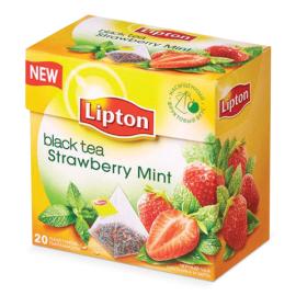 Чай чёрный Липтон Strawberry Mint  20 пирамидок