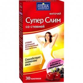 Фито чай Супер Слим чёрный со стевией Вишня Смородина 30 пакетиков