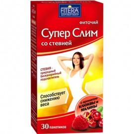 Фито чай Супер Слим чёрный со стевией Клюква Малина 30 пакетиков
