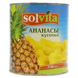 Ананасы консервированные СОЛВИТА кусочки, 3100мл