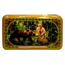 Шкатулка подарочная с чаем «Преподобный Серафим Саровский и медведь» 60г