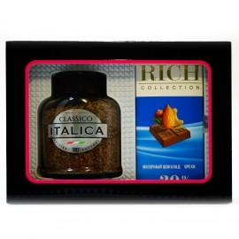 Подарочный набор кофе сублимированный Italcia 100г, и шоколад Rich 70г